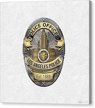 Los Angeles Police Department  -  L A P D  Police Officer Badge Over White Leather Canvas Print