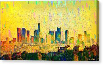 Los Angeles Skyline 1 - Da Canvas Print by Leonardo Digenio