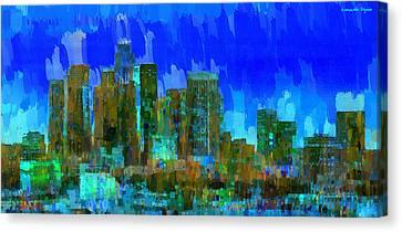 Los Angeles Skyline 102 - Pa Canvas Print