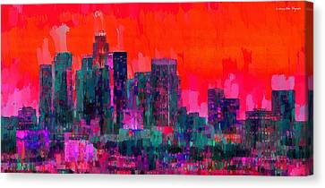 Los Angeles Canvas Print - Los Angeles Skyline 103 - Pa by Leonardo Digenio