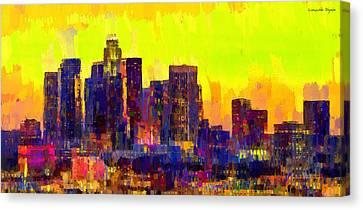 Los Angeles Skyline 104 - Da Canvas Print by Leonardo Digenio
