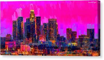 Los Angeles Skyline 110 - Da Canvas Print by Leonardo Digenio