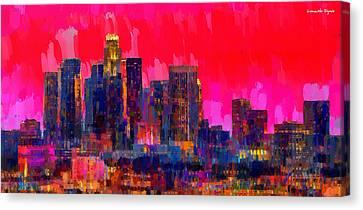 Scenes Canvas Print - Los Angeles Skyline 111 - Pa by Leonardo Digenio