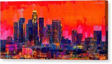 Los Angeles Skyline 112 - Pa Canvas Print by Leonardo Digenio
