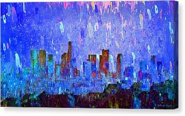 Los Angeles Skyline 2 - Pa Canvas Print by Leonardo Digenio