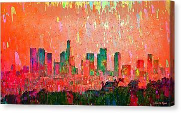 Los Angeles Skyline 3 - Da Canvas Print by Leonardo Digenio