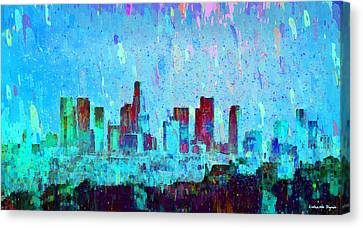 Metropolitan Canvas Print - Los Angeles Skyline 4 - Pa by Leonardo Digenio