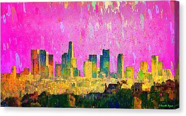 Los Angeles Skyline 8 - Pa Canvas Print by Leonardo Digenio