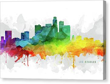 Los Angeles Skyline Mmr-uscala05 Canvas Print by Aged Pixel