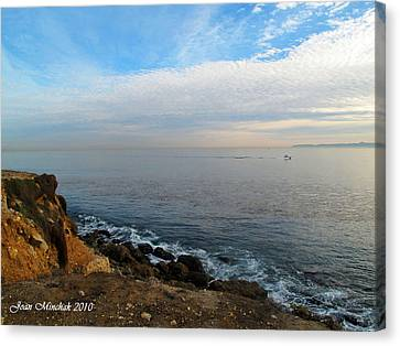 Canvas Print featuring the photograph Los Angeles Sunset by Joan  Minchak