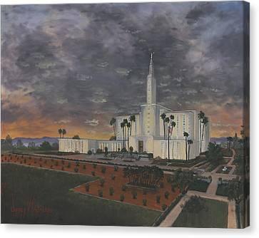 Los Angeles Temple Evening Canvas Print by Jeff Brimley