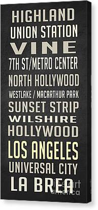 Los Angeles Vintage Places Poster Canvas Print by Edward Fielding
