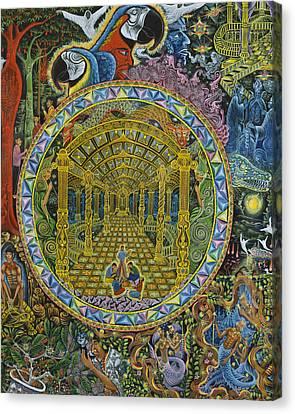 Ayahuasca Visions Canvas Print - Los Grados Del Curandero by Pablo Amaringo