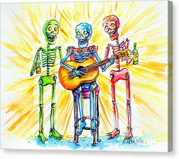 Canvas Print featuring the painting Los Tres Cantantes by Heather Calderon