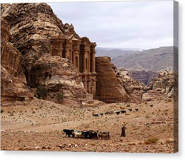 Lost City Of Petra Canvas Print by Scott Brindle