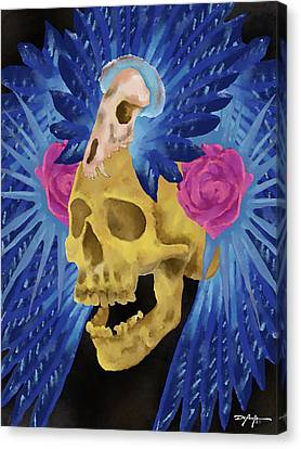 Skull In Rose Canvas Print - Lost Culture by William Depaula