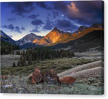 Canvas Print featuring the photograph Lost River Mountains Moon by Leland D Howard