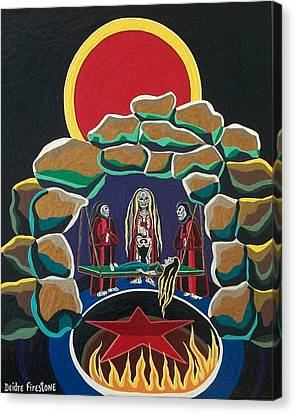 Cave Art Canvas Print - Lost Souls Outside The Spiritual Blood Of The Covenant by Deidre Firestone
