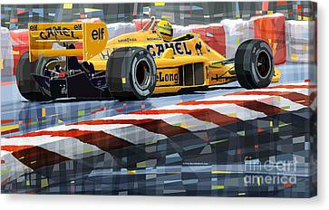 Lotus 99t 1987 Ayrton Senna Canvas Print by Yuriy  Shevchuk