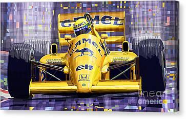 Lotus 99t Spa 1987 Ayrton Senna Canvas Print by Yuriy  Shevchuk