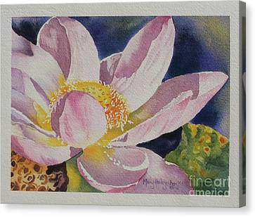 Canvas Print featuring the painting Lotus Bloom by Mary Haley-Rocks