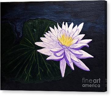Canvas Print featuring the painting Lotus Blossom At Night by Patricia Griffin Brett