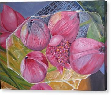 Lotus Buds Shanghai Market Canvas Print
