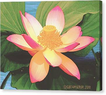 Canvas Print featuring the painting Lotus Flower by Sophia Schmierer
