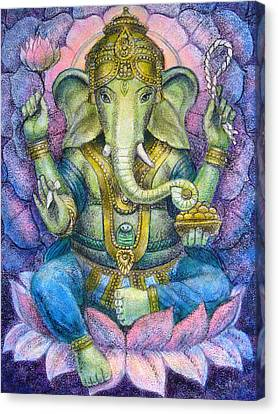 Lotus Ganesha Canvas Print by Sue Halstenberg