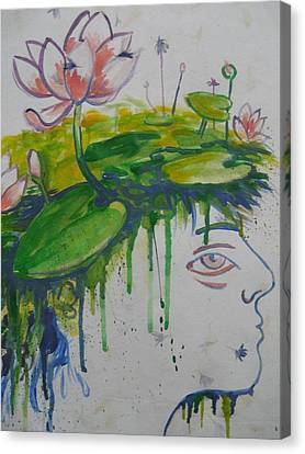Lotus Head Canvas Print by Tilly Strauss