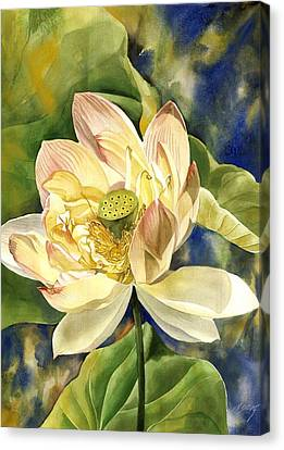 Canvas Print featuring the painting Lotus In Blooms by Alfred Ng