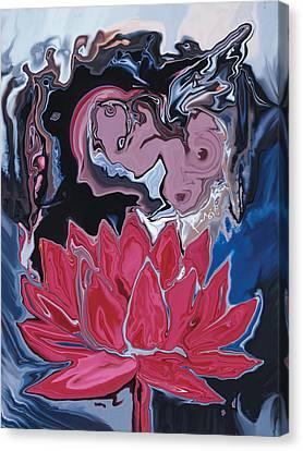 Canvas Print featuring the digital art Lotus Love by Rabi Khan