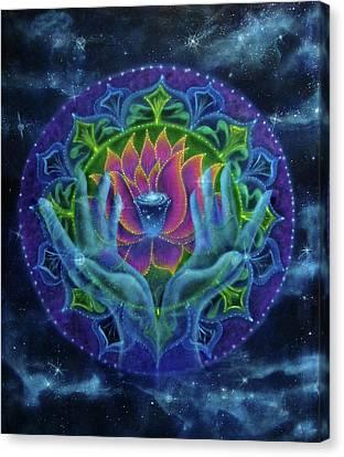 Lotus Of Light Canvas Print by Deborah Wright
