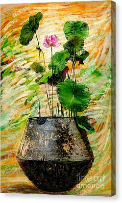 Lotus Tree In Big Jar Canvas Print by Atiketta Sangasaeng