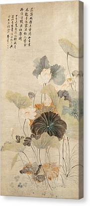 Lotuses On A Summer Evening Canvas Print