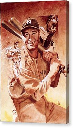 Lou Gehrig Canvas Print by Ken Meyer jr