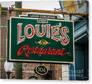 Louie's Neon Canvas Print by Perry Webster