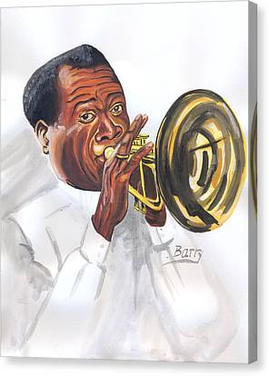 Canvas Print featuring the painting Louis Armstrong by Emmanuel Baliyanga