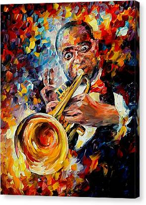 Louis Armstrong Canvas Print by Leonid Afremov