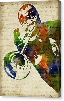 Louis Armstrong Watercolor Canvas Print