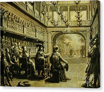 Louis Xiii, Anne Of Austria And Cardinal Richelieu At The Production Of Mirame Canvas Print