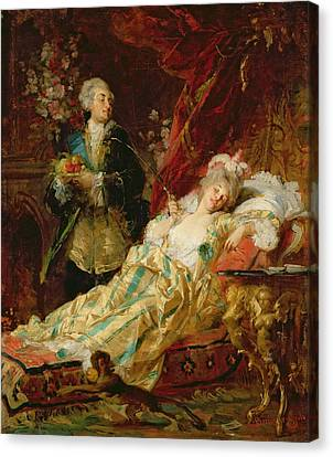 Louis Xv And Madame Dubarry Canvas Print by  Gyula Benczur