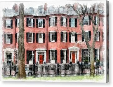 Louisburg Square Beacon Hill Boston Canvas Print by Edward Fielding
