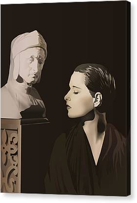 Louise Brooks With Bust Of Dante Alighieri  Canvas Print by Vintage Brooks