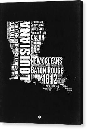 Louisiana Black And White Word Cloud Map Canvas Print by Naxart Studio