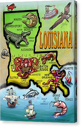 Louisiana Cartoon Map Canvas Print by Kevin Middleton