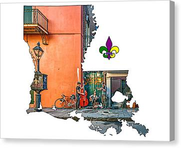 Wrought Iron Bicycle Canvas Print - Louisiana Map - The French Quarter by Steve Harrington