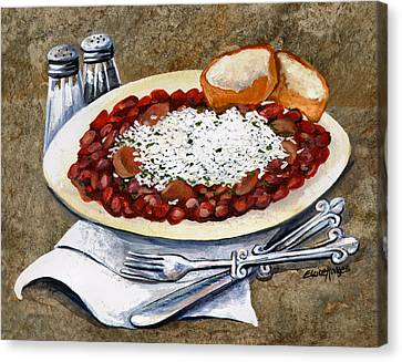 Louisiana Red Beans And Rice Canvas Print by Elaine Hodges