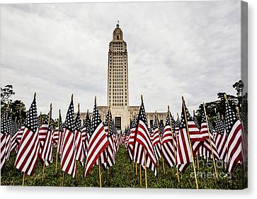 Louisiana State Capitol Dressed For Memorial Day Canvas Print by Scott Pellegrin