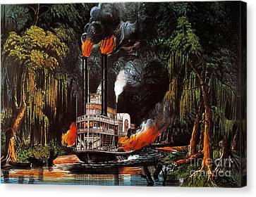 Louisiana: Steamboat, 1865 Canvas Print by Granger
